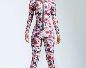 SALE: Pink Sugar Skull Catsuit