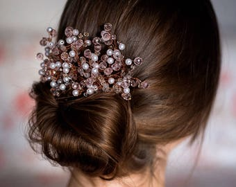 Pink crystals and pearls comb, bridal comb, hair decoration, hair jewelry