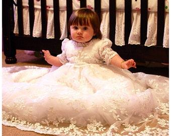 "Angela West Christening gown set  "" Monica Rose II"" ivory size TBD silk  slip ,bonnet,booties, Blanket , bib, matching baby dress, headband"