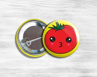 Kawaii Tomato Vegan Vegetarian Fruit Vegetable Pinback Button Pin 1.75""