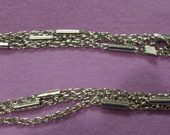 Vintage Sarah Coventry 'Fashion Accent' Silver Tone Chain Necklace 17 in Signed