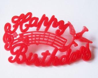 Happy Birthday Plastc Plaque Retro