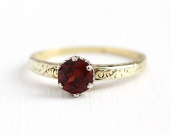 Vintage Garnet Ring - 14k Yellow & White Gold Dark Red Genuine Gemstone - Art Deco 1930s Size 7 January Birthstone Fine Filigree Jewelry