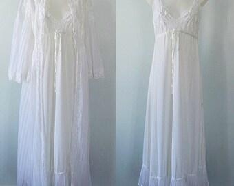 Vintage White Peignoir Set, Bridal Peignoir, Vintage Peignoir, Nivion, 1970s Peignoir, Wedding, Elegant Peignoir, Peignoir