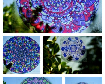 PURPLE Mandala Window Decal - Psychedelic Geometric Art - Choose Your Design from Purple Collection