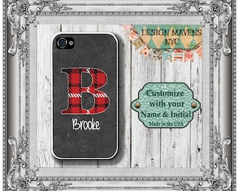 Plaid Initial iPhone Case, Personalized iPhone Case, Red Tartan iPhone Case, iPhone 4, 4s, iPhone 5, 5s, 5c, iPhone 6, 6s, 6 Plus