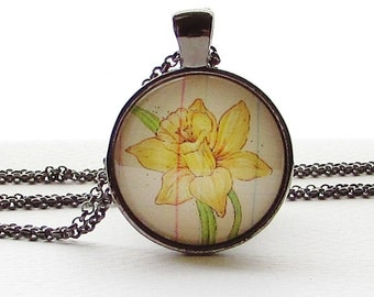March Birth Month Necklace - March Birthday - Daffodil Necklace - Mothers Day Gift - Flower Jewelry - Yellow Daffodil - Birthday Gift