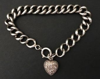 Antique Curb Link Bracelet with Heart Charm