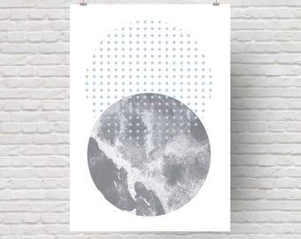 Scandinavian art print, abstract art print, modern wall art, cosmos, dots, minimalistic.
