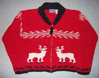 Red Nordic Ski Reindeer Bucks Zip Up Long Sleeve Sweater Ugly Christmas Party Tacky Gaudy X-Mas Holiday Winter Warm 10-12 M Medium