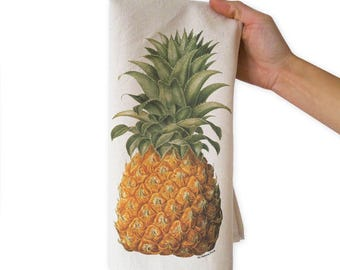 Pineapple tea towel-pineapple kitchen towels-wedding gift-custom tea towels-flour sack towels-botanical tea towel-by NATURA PICTA-TWNP8