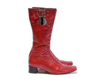 Red patent gogo boots