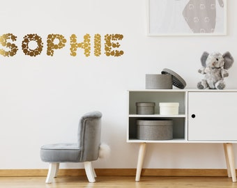 Custom Name Wall Sticker Gold Polka Dots