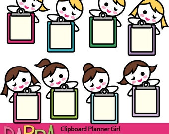 Planner girl clipart commercial use / blond brown hair girls with clipboard / printable plan sticker clipart download, instant download