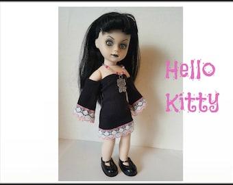 Living Dead Doll Clothes -  HELLO KITTY - Goth Black Dress and Sun Necklace - Handmade Custom Fashion by dolls4emma