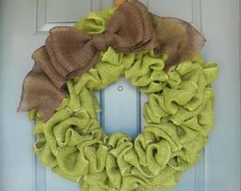 Burlap Wreath Avocado Green With Large Brown Bow - Harvest Wreath - Fall Wreath- Autumn Wreath  X-Large 25 inch