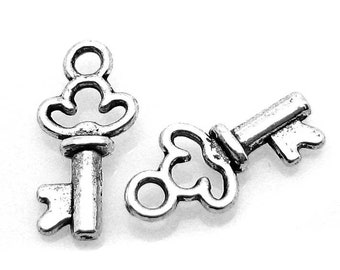 Antique Silver Tiny Skeleton Key Charms (Double-Sided)  [10 pieces] -- Lead, Nickel & Cadmium Free 65936.J3L