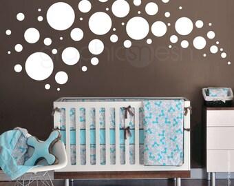 Wall decals 58 POLKA DOTS VARIOUS circles - Vinyl sticker home & nursey decor by Graphics Mesh