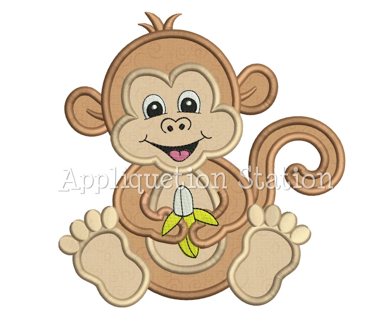 Zoo Baby Monkey Applique Machine Embroidery Design Jungle