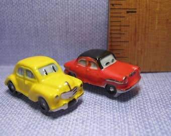 VINTAGE Renault 4CV '54 and Panhard PL 17 '60 Cars Car  - French Feve Feves Figurines Doll House Miniatures Oo18