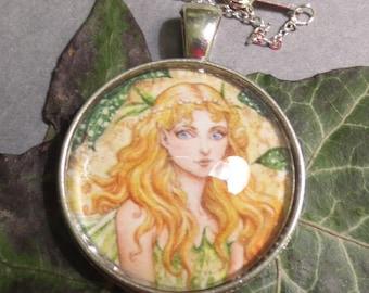 Forest Fairy, handmade pendant, cabochon pendant