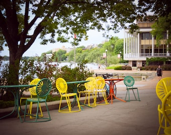 Memorial Union Terrace Chairs and Bike - University of Wisconsin Lakefront in Madison - Madison Wisconsin - Wall Art