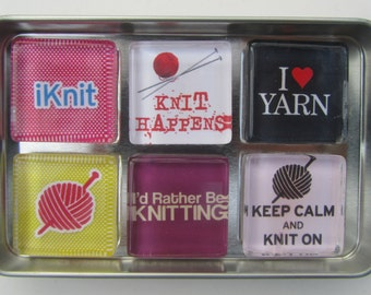 Knitting Themed Refrigerator Magnets, Knit Lover Gift, Knitting Gift, Knitting Magnets, Set of 6 Fridge Magnets