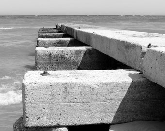 Black and White Stone Pier at the Beach Doctors Park Milwaukee Leading Line Fine Art Photo Print Home Wall Decor by Rose Clearfield on Etsy