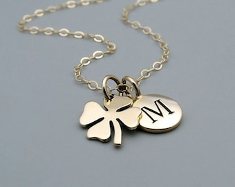 Personalized Gold Clover Necklace, 14k gold filled, four leaf lucky clover, shamrock, bridesmaids gift, gold initial necklace