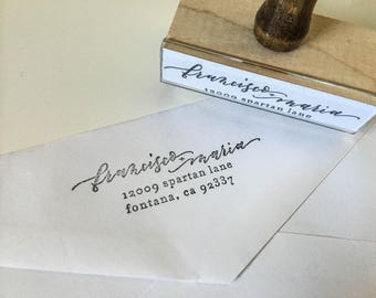 Return Address Rubber Stamp with Handlettered Names