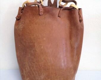 Tan Leather Handmade Bucket Bag 1960's