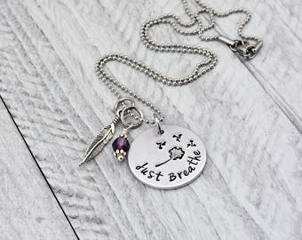 Inspirational Necklace for Women - Just Breathe Necklace - Mothers Day Gift for Women - Dandelion Necklace - Yoga Jewelry - Breathe Jewelry