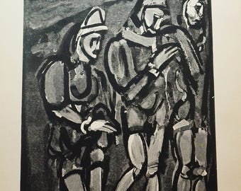 Georges Rouault,  Original Verve Heliogravure,  CLOWNS,  Clown Art, Vintage Fine Art,  Verve Art Work, Housewarming Gift, Black and White,