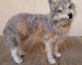 Grey Wolf, Wolf sculpture, Needle felted Wolf, Timber wolf, Wolf Decor, Gray wolf, Wolf art, Nature table