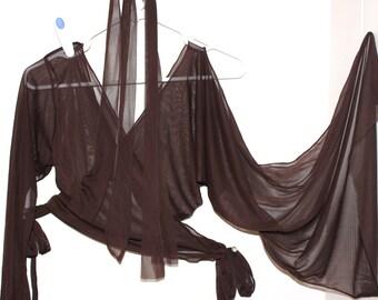 Costume de danse en mousseline de soie marron taille adulte m