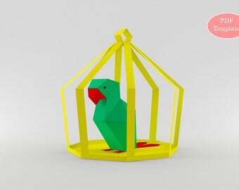 Papercrafts bricolage, papier perroquet, perroquet 3d, oiseaux, oiseaux tropicaux, Parrrot imprimable, numérique Télécharger, perroquet en origami, impression et pli, jouet en papier