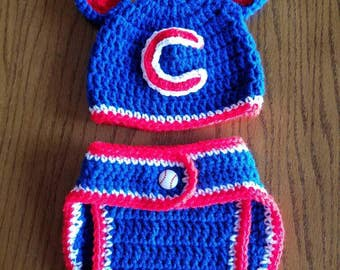 Chicago Cubs hat and diaper cover