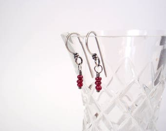 Ruby Earrings ~ Petite Drops with Teeny Tiny Polished Gemstones ~ Handcrafted Eco-Recycled Sterling Silver Hooks ~ July Birthstone Gift