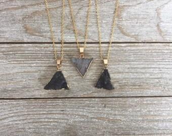 Triangle Druzy Necklace, Druzy Pendant, Natural Agate, Drusy Geode, Gemstone Necklace, Electroplated Druzy, Grey Druzy, Gray Druzy Agate