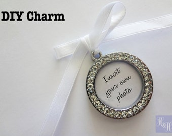 DIY Round Blank Rhinestone Wedding Bouquet Photo Memory Charm Bridal Party Gift Keepsake Momento