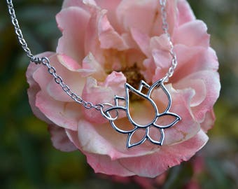 Lotus Flower Necklace. Silver Plated Chain. Lotus Flower Jewelry. Lotus Necklace. Silver Jewellery.