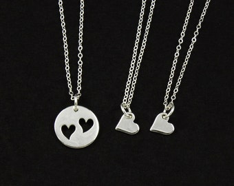 SALE - Sterling Silver Mother & Two Daughters Heart Necklaces