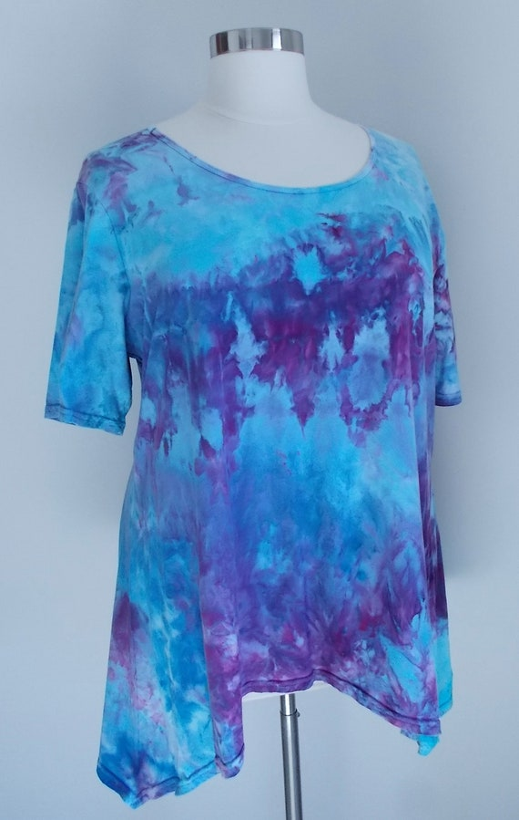Women's  3XL Short Sleeve Hanky-hem Ice dye tie dye Cotton Tunic