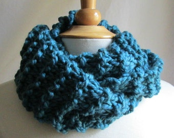 Cozy and Plush Teal Blue Cowl Scarf Neck Warmer