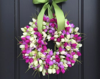 Spring Tulip Wreaths, Tulip Wreaths, Spring Wreaths, Spring Front Door Wreath, Door Wreaths, Mother's Day Wreath,  Easter Wreaths