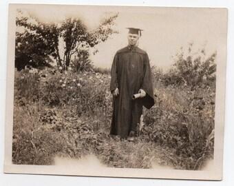 Man Wearing Graduation Cap And Gown Holding Diploma Antique Snapshot Education Memorabilia Family Photo School Photograph Graduate