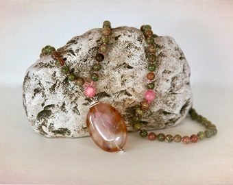 Boho Gemstone Knotted Necklace. Mala Beads. Meditation Necklace. Pink Jasper & Pink Jade with Fire Cherry Quartz Pendant