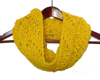 Bright Yellow Wool Moebius Infinity Loop Scarf
