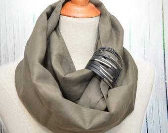 Linen Infinity Scarf. Chunky Scarf. Natural Linen. Olive. Black cuff.