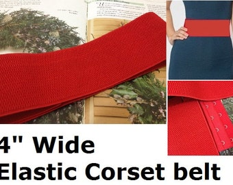 "Wide Elastic Stretch Belt, Cinch Belt, 4"" wide, plus size belt, with hook and eye closure,  Custom Made, red"
